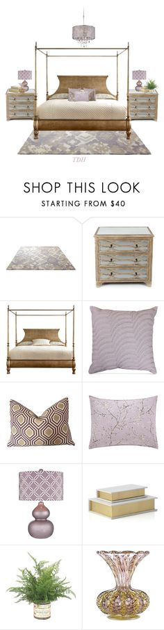 """""""Lavender & Gold Bedroom"""" by talvadh ❤ liked on Polyvore featuring interior, interiors, interior design, home, home decor, interior decorating, ESPRIT, Hooker Furniture, Catherine Malandrino and Vera Wang"""
