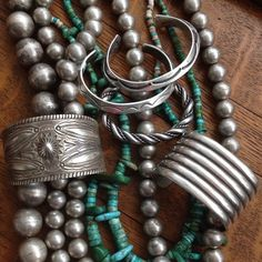 Pearl Jam…. #vintage #vickiturbeville #navajo #pueblo #turquoise #nativeamerica #silver Available!