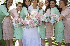 Bridesmaids dresses, fabric bouquets, modest, dainty jewels