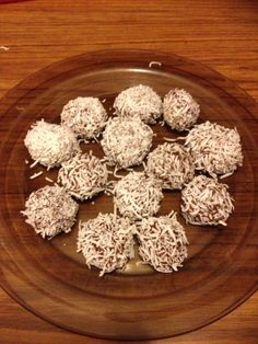 Chocolate Protien Balls with shredded coconut.