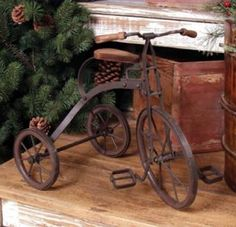 Old tricycle makes perfect Christmas decor. We have a couple old wooden trucks, a red wagon, an old blue painted bus, bears and handmade dolls we bring out at Christmas...they seem to fit right in!