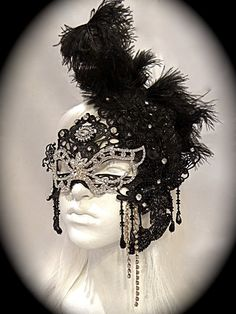 Black Diamond Masquerade Mask Mardi gras by Marcellefinery on Etsy