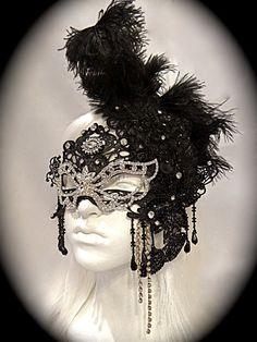 Black Diamond Masquerade Mask Mardi gras by Marcellefinery on Etsy