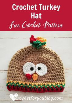 Crochet Turkey Hat Free Pattern. #crochetforyoublog #turkey #crochet #freecrochetpatterns #hats #diy