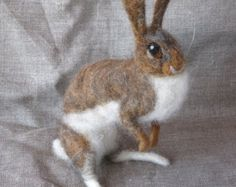 Cotton Tail Rabbit - needle felted animal, made to order see description