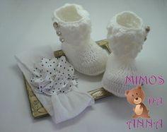 * sapatinho de croche*botinha + faixa