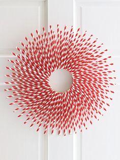 Candy Cane Striped Straw Wreath