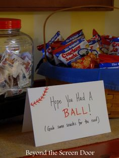 Party favors for a baseball themed baby shower How to Throw an All American Baseball Baby Shower | Beyond the Screen Door