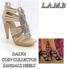 "L.A.M.B. DALVA Silver Coin Leather Sandals Heels L.A.M.B. DALVA Leather Strappy Silver Coin Platform Sandals Heels  MSRP $395  ** Sold out everywhere **  Size: 8.5  - zip closure at back of heel  - silver coin detailing  - basket weave platform  - leather upper  - leather sole  NOTE: Some minor wear & markings, not too noticeable.   Measurements taken in inches:  Heel Height: 5""  Platform Height: 1""  Insole: 9 & 3/4""   No PP or Trades  ✅ Fair Offers Welcome - Please Use Offer Button ✅ Bundle…"