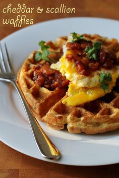 Savory Cheddar and Scallion Waffles @FoodBlogs