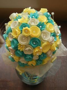 Paper Wedding Bouquet! Turquoise and Yellow!