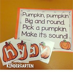 Alphabet Sounds and Patterning Fun - Miss Kindergarten Fall Preschool, Kindergarten Literacy, Preschool Classroom, Preschool Learning, Preschool Halloween, Classroom Decor, Preschool Centers, Preschool Projects, Preschool Themes