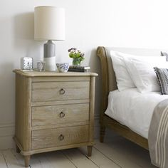 CAMILLE CHEST OF DRAWERS A bit like a favourite pair of jeans. Full of character and incredibly versatile, our Camille in weathered oak works really well as both a bedside table and a chest of drawers. Looks particularly brilliant with our French beds.