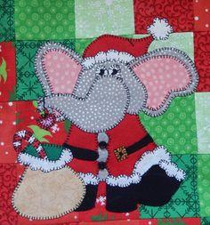 Santa elephant PDF applique quilt pattern por MsPDesignsUSA en Etsy