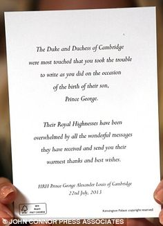 Thankyou: The letter sent out to all of the Royal well-wishers who wrote to congratulate the Duke and Duchess of Cambridge on the birth of Prince George