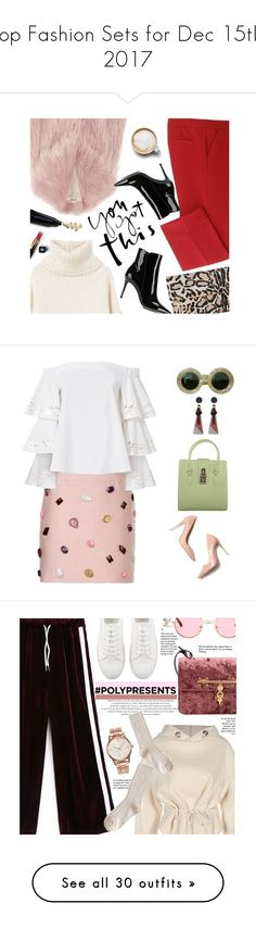 """""""Top Fashion Sets for Dec 15th, 2017"""" by polyvore ❤ liked on Polyvore featuring MANGO, Miu Miu, Clare V., Chanel, Gianvito Rossi, Caffé, redpants, turtleneck, patentleatherboots and fauxfurcoats"""