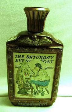 "Jim Beam Bicentennial Bourbon Bottle Rockwell Patriots ""Ye Pipe & Bowl"" 1926"