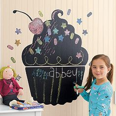Add this adorable chalkboard to your little girl's room! Featuring a cupcake with sprinkles, it's sure to add a fun touch to her room that is perfect for art- time!