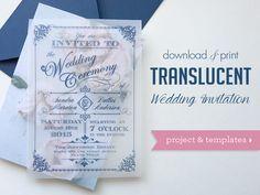 DIY vintage translucent wedding invitation   Download & Print