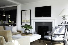 Clean look, non-fussy look to fireplace mantle with TV above.