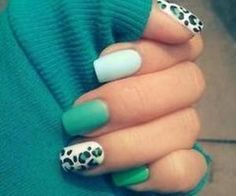 White, Turquoise, and Black Leopard Nail Art Design