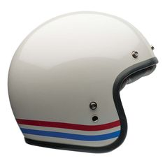 Bell Custom 500 Helmet - Stripes Pearl White | Open Face Motorcycle Helmets | FREE UK delivery - The Cafe Racer