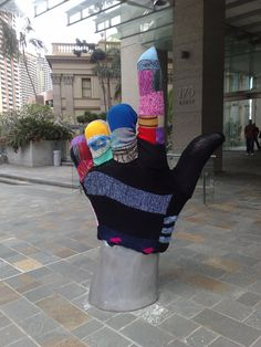 big knitted glove yarn bomb in Brisbane | KnitHacker