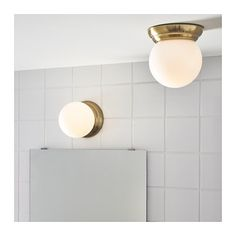 IKEA - LILLHOLMEN, Ceiling/wall lamp, , The glass shade provides balanced general lighting throughout the room. Lamp, Wall Ceiling Lights, Ikea, Amazing Bathrooms, Led Cabinet Lighting, Brass Color, Wall Lamp, Lamp Shade, Kitchen Ceiling