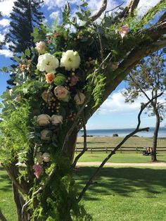Where the coast meets the country. The perfect solution is this spectacular custom made driftwood arbor
