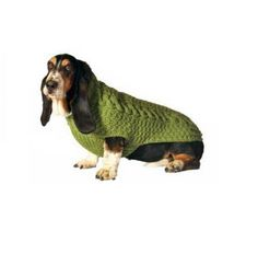 Chilly Dog Green Cable Dog Sweater X-Large