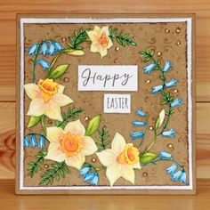 'Daffs & Bells' Clear set contains 19 stamps designed by the very talented Sharon Bennett. Launched February Card by Sally Dodger Hobbies For Women, Clear Stamps, Happy Easter, My Favorite Things, Card Making, March, Presents, Product Launch, Big Project