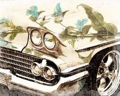 Instant Download Digital Download Vintage Car Lake by LEXIBAGS, $5.00