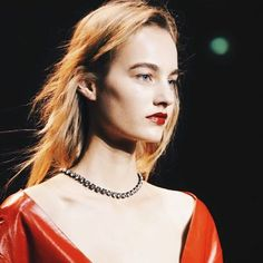 Patent leather red lips to match the collection at Nina Ricci.