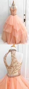 charming high neck prom dress ruffle beading wedding dress ball gown evening dress sleeveless cocktaildress,HS031  #moddress #promdress #prom #shopping #fashion #dresses #eveningdress