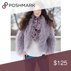 Lavender Faux Fur Jacket Lavender Tibetan Lamb Faux Fur jacket.  An absolute fashion statement.   - Size S. (Best fits anywhere from a S-L/4-8) - Satin-lined. - Stand-up collar. - 2 hook & ring closures on center front edge. - Shell: 63% Modacrylic, 37% Polyester. - Lining: 100% Polyester. - Worn maybe once. In perfect condition.   *More photos to come shortly. Fabulous Furs Jackets & Coats