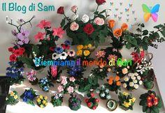 Lots of free flower crochet patterns in Italian