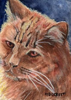 ACEO Original Painting Cat Portrait kitty pets feline animals pets ginger #Impressionism