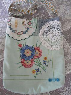 Shabby vintage linen shoulder bag cottage by lilyandmayvintage