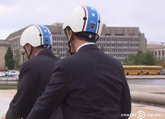 Stephen Colbert and former U. representative for Georgia's congressional district cycling away wearing Nutcase Helmets Stephen Colbert, Helmets, Finals, Georgia, Cycling, Tv, Celebrities, Movies, How To Wear