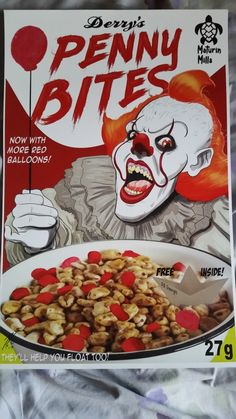 Pennywise's Own Cereal Horror Cartoon, Funny Horror, Horror Icons, Le Clown, Creepy Clown, Deadpool Art, Steven King, Cereal Killer, Pennywise The Dancing Clown