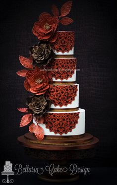 Copper and brown doily wedding cake - Cake by Bellaria Cakes Design (Riany Clement)