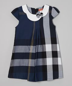 Navy Plaid Swing Dress//