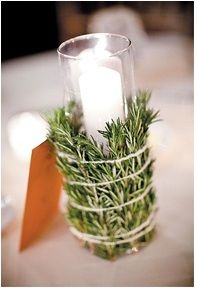 They say scent is the most powerful sensory. Add some wow to your next party/get together by using pine needle sprigs, thyme, lavender and any kind of twine/rope to faster around a candle holder.