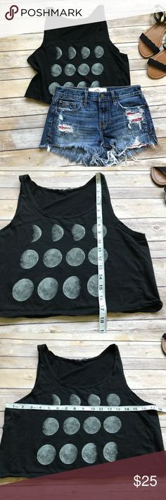 Brandy Melville Moon Phase One size Tank Like new slightly cropped Brandy Melville Tank with moon phases. Brandy Melville Tops