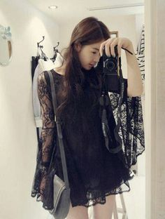 Youthful vigor fairy style lace big horn sleeve dress Product DL3229 Cheap - CloClothing.com Online Store