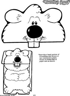 Groundhog Day Coloring Pages. Every year in the United States, the of February is Groundhog Day. Kindergarten Groundhog Day, Groundhog Day Activities, Holiday Activities, Ground Hog Day Crafts, Paper Bag Crafts, Paper Bag Puppets, School Holidays, Preschool Activities, Coloring Pages