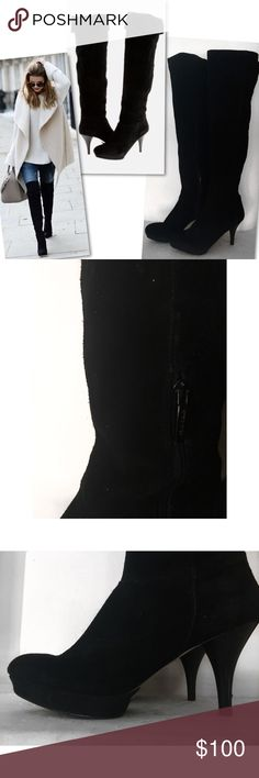 "NINE WEST DESTRY SUEDE LEATHER OVER THE KNEE BOOTS NINE WEST DESTRY SUEDE LEATHER OVER THE KNEE BOOTS SZ 9 - 3.5"" HEEL - LIGHTLY RUBBED ON TOES ( SHOWN IN PICS) Nine West Shoes Over the Knee Boots"