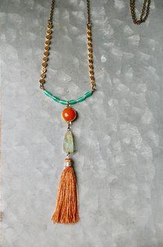 Tassel necklace.gemstone tassel necklaceaquamarine orange