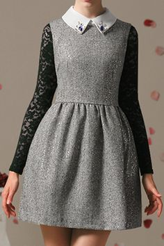 ROMWE | ROMWE Sleeveless Beaded Embellishment Grey Dress, The Latest Street Fashion