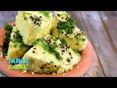 Nylon Khaman Dhokla Recipe, Instant Khaman Dhokle by Tarla Dalal Veg Recipes, Indian Food Recipes, Cooking Recipes, Recipies, Khaman Dhokla, Dhokla Recipe, Gujarati Recipes, Gujarati Food, Tea Time Snacks